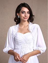 Chiffon Lace Wedding Party Evening Casual Women's Wrap With Lace Shrugs