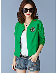 cheap -Women's Jacket - Solid Colored, Zipper