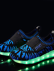 Boys' Sneakers Spring Fall Comfort Light Up Shoes Fabric Outdoor Flat Heel Magic Tape LED Black Blue