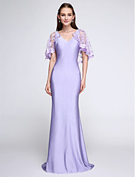 cheap -Mermaid / Trumpet V-neck Sweep / Brush Train Jersey Bridesmaid Dress with Lace by LAN TING BRIDE®