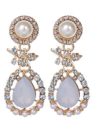 cheap -Charm Water Drop Earrings Fashion Jewelry Rhinestone Pearl Dangle Earrings