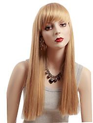 Donna Parrucche sintetiche Senza tappo Medio Lisci Biondo parrucca nera costumi parrucche