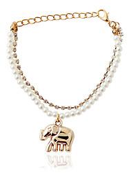 Bracelet Chain Bracelet Alloy / Imitation Pearl Animal Shape Fashion Jewelry Gift Gold / White,1pc