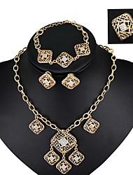 moda gioielli da sposa d'epoca insieme di cristallo della lega collana orecchini braccialetto a catena a catena per le donne tutte le