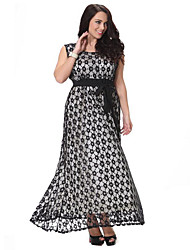 cheap -Women's Plus Size Vintage Lace Dress - Polka Dot Lace / Cut Out / Ruffle Maxi