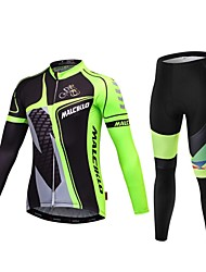 cheap -Malciklo Cycling Jersey with Tights Men's Short Sleeves Bike Compression Clothing Tights Quick Dry Front Zipper Wearable High