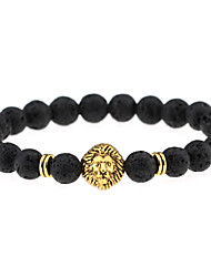 cheap -Men Women Jewelry Gold/Silver Plated Lion Head Buddha Charm Bracelet Black Lava Stone Bracelets