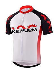 economico -KEIYUEM Maglia da ciclismo Per uomo Per donna Unisex Manica corta Bicicletta Top Ompermeabile Asciugatura rapida Design anatomico