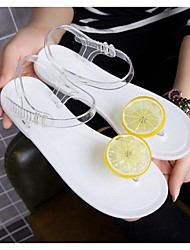 Women's Shoes PVC Summer Sandals Flat Heel For Casual Outdoor White Black