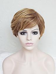 economico -Parrucche sintetiche Liscio / Onda naturale Oro Taglio asimmetrico / Con frangia Capelli sintetici Attaccatura dei capelli naturale Oro Parrucca Per donna Corto Senza tappo