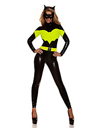 Cosplay Costumes Super Heroes Bat Movie Cosplay Green Leotard/Onesie Mask Halloween Christmas New Year Female Polyester