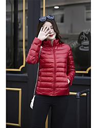 preiswerte -Damen Daunenjacke Mantel,Standard Retro Freizeit Chinoiserie Alltag Sport Solide-Baumwolle Polypropylen Langarm Asymmetrisch