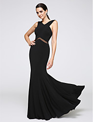 Mermaid / Trumpet V-neck Floor Length Jersey Formal Evening Dress with Lace by TS Couture®