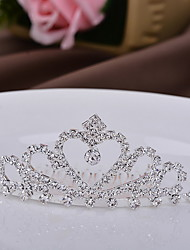 cheap -Women's Children Crown Bridal Heart Silver Tiaras for Wedding Party Special Occasion