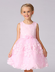cheap -A-Line Knee Length Flower Girl Dress - Cotton / Organza / Satin Sleeveless Jewel Neck with Embroidery / Flower by