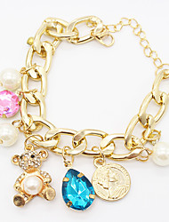 Fashion DIY Jewelry Punk Gold Chain Rhinestone  Bear Crystal Water Drops Pearl Pendant Bracelets Women Accessories Gift