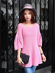 Standard Pullover Da donna-Per uscire Casual Ufficio Vintage Romantico Moda città Tinta unita Rosa Rotonda Mezze maniche Acrilico