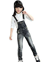 cheap -Girl's Cotton Spring/Autumn Fashion Print Jeans Pants Suspender Trousers Patchwork Solid Color Overalls