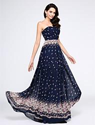 Corte en A Sin Tirantes Hasta el Suelo Raso Baile de Promoción Evento Formal Vestido con Diseño / Estampado En Cruz por TS Couture®