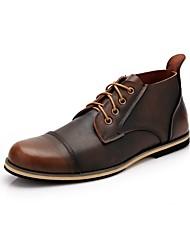 Men's Oxfords Comfort Leather Casual Flat Heel Lace-up Light Brown Blue Black Walking