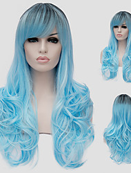 cheap -Synthetic Wig Blue Women's Capless Capless Wig Long Synthetic Hair