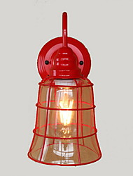 American Country Vintage Wrought Iron Wall Lamp Red Glass Hob