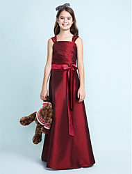 cheap -A-Line Princess Straps Floor Length Taffeta Junior Bridesmaid Dress with Bow(s) Sash / Ribbon Ruched by LAN TING BRIDE®