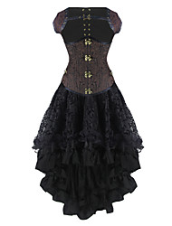 cheap -Burvogue Women's Dobby Gothic Steampunk Steel Boned Underbust Corset Dress
