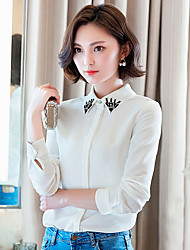 Women's Tassels Doll Collar Chiffon Long Sleeve Blouses