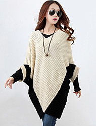 cheap -Women's Long Sleeves Batwing Sleeve Long Pullover - Color Block V Neck