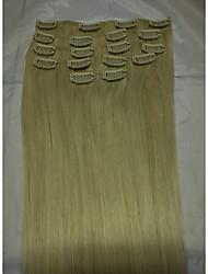 """15"""" # 60 clip di capelli umani nelle estensioni dei capelli umani 8pcs / 70g"""