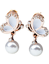 cheap -Women's Drop Earrings - Imitation Pearl, Rhinestone Butterfly Fashion White / Black For Wedding / Party / Daily