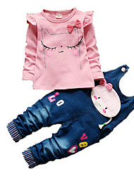 Girl's Casual/Daily Print Clothing Set,Cotton Fall Pink / White