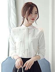 Women's Stand Collar Chiffon Long Sleeve Drilling Beaded Blouses Shirt