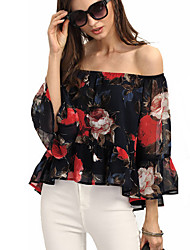 cheap -Women's Going out Sexy Street chic All Seasons Blouse,Floral Boat Neck Long Sleeves Polyester Thin