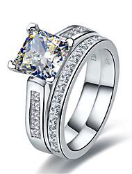 Fedine Argento sterling Strass imitazione diamante Di tendenza Argento Gioielli Matrimonio 1 Set