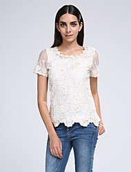 Women's Lace Lace Beige Blouse,Vintage Round Neck Short Sleeve Lace Crochet And Beaded