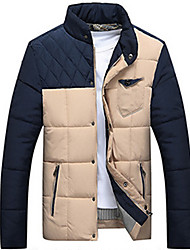 Men's Regular Padded Coat,Casual Daily Color Block-Cotton Without Filling Material Long Sleeves Stand