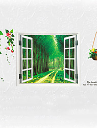 cheap -3D Forest Flower Landscape False Window 3D Wall Stickers Fashion Living Room Bathroom Kitchen Wall Decals Removable