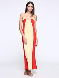 Robe Aux femmes Ample Sexy / Soirée / Travail / Décontracté , Couleur Pleine A Bretelles Maxi Coton