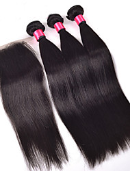 cheap -Peruvian Virgin Human Hair Straight With Closure 3 Bundles Straight Hair With Middle Free Three Part Lace Closures