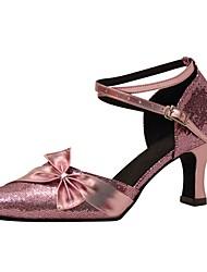 Damer Latin Moderne Paillette Sandaler Hæle Professionel Indendørs Sløjfe Pailletter Spænde Personligt tilpassede hæle Lilla Personligt