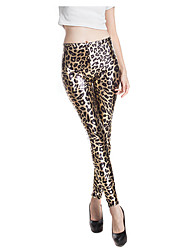 cheap -Women's Polyester Medium Print Legging,Leopard Gold