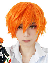 Fox Nick Movice Film Men's Cosplay Wigs Short Length with Bangs Shaggy Orange Color Halloween Party Wig