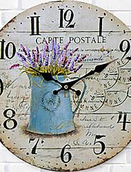 preiswerte -Modern/Zeitgenössisch Familie Wanduhr,Kreisförmig Holz 34*34*3cm Drinnen Uhr