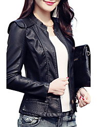 cheap -Women's Daily Street chic Spring Fall Leather Jacket,Solid Stand Long Sleeve Regular PU