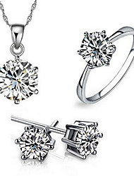 cheap -Women's Sterling Silver / Zircon / Cubic Zirconia Adorable Jewelry Set Rings / Earrings / Necklace - Love / Fashion / European Six Prongs