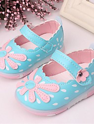 Girls' Baby Shoes PU Summer Flats Magic Tape For Casual White Fuchsia Blue Blushing Pink