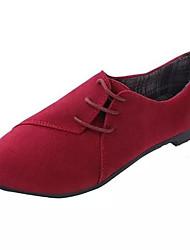 billige -Damer Sneakers Komfort Forår Efterår Vinter Fleece Afslappet Snøring Flad hæl Sort Beige Gul Rød Blå 2,5-4,5 cm
