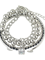 Silver Plated Adjustable Beads Chain Cuff Bracelets Set for Women